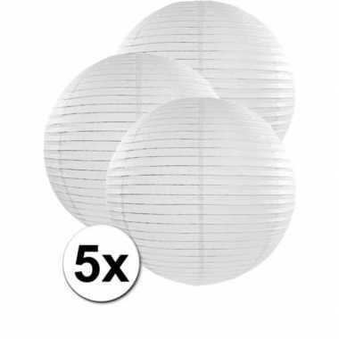 5x stuks witte luxe lampionnen van 50 cm
