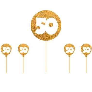 5x taart topper 50 jaar thema versiering goud