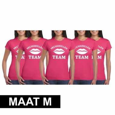 5x vrijgezellenfeest team t-shirt roze dames maat m