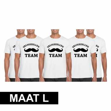 5x vrijgezellenfeest team t-shirt wit heren maat l
