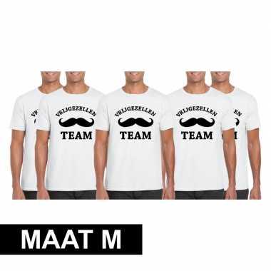 5x vrijgezellenfeest team t-shirt wit heren maat m