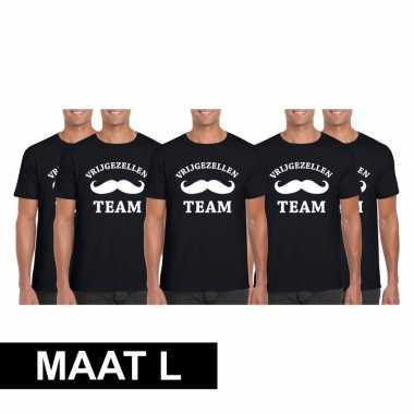 5x vrijgezellenfeest team t-shirt zwart heren maat l