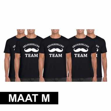 5x vrijgezellenfeest team t-shirt zwart heren maat m