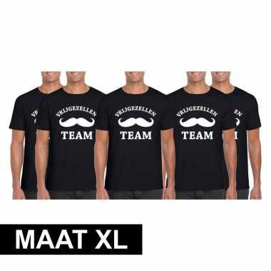 5x vrijgezellenfeest team t-shirt zwart heren maat xl