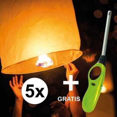 5x wensballon 50 x 100 cm incl gratis aansteker