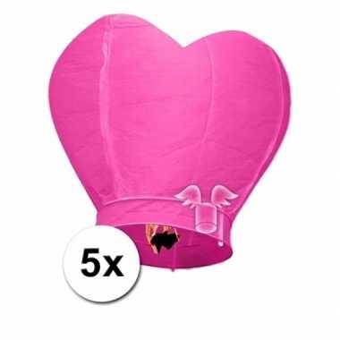 5x wensballon roze hart 100 cm