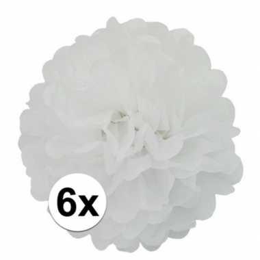 6 witte decoratie pompoms 35 cm