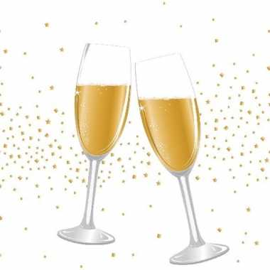 60x bruiloft/huwelijk servetten champagne proost 33 x 33 cm