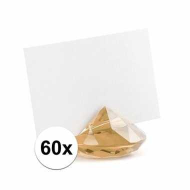 60x kaarthouder standaard gouden diamant 10x