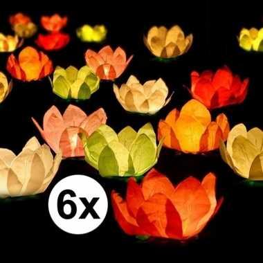 6x bruiloft/huwelijk drijvende kaarsen/lantaarns bloemen 29 cm