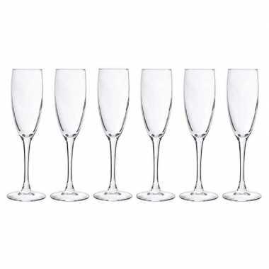 6x champagneglazen/flutes 190 ml