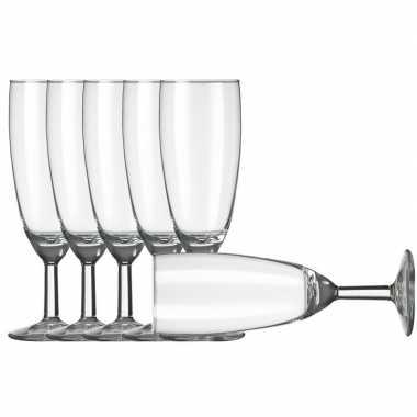 6x champagneglazen/flutes transparant 150 ml vinata