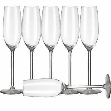 6x champagneglazen/flutes transparant 210 ml allure