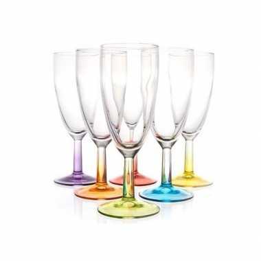 6x gekleurde champagne glazen 140 ml