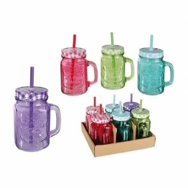 6x gekleurde glazen drinkbekers/drinkpotjes met rietje 450 ml
