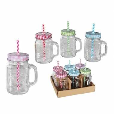 6x glazen drinkbekers/drinkpotjes met rietje 450 ml