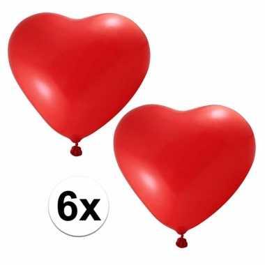 6x hartjes ballonnen rood