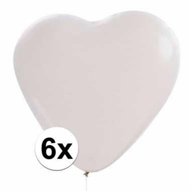 6x hartjes ballonnen wit