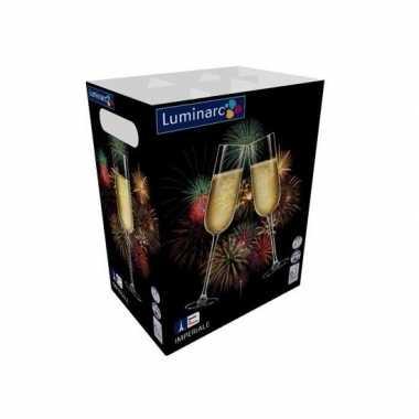 6x luxe champagne glazen van glas 230 ml