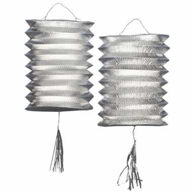 6x stuks metallic zilveren party lampionnen van 25 cm