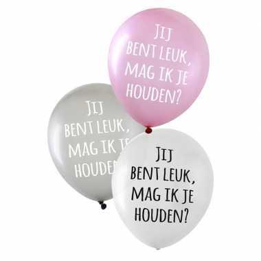 6x valentijn ballonnen jij bent leuk, mag ik je houden?
