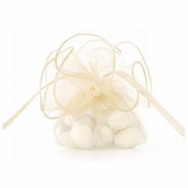 80x stuks luxe creme witte organza cadeauzakjes 26 cm