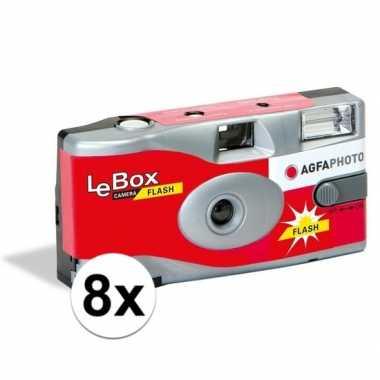 8x bruiloft/vrijgezellenfeest wegwerp camera 27 fotos met flits