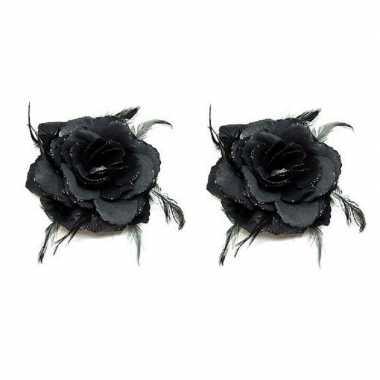 8x stuks haarbloemen zwarte rozen