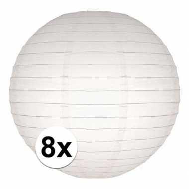 8x stuks luxe bol lampionnen wit 25 cm