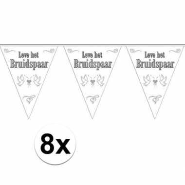 8x stuks vlaggenlijnen bruiloft / bruidspaar / huwelijk