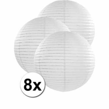 8x stuks witte luxe lampionnen van 50 cm