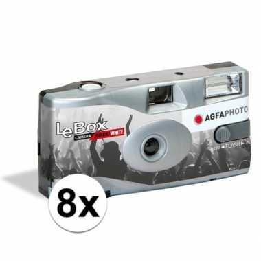 8x wegwerp cameras met flitser voor 36 zwart/wit fotos