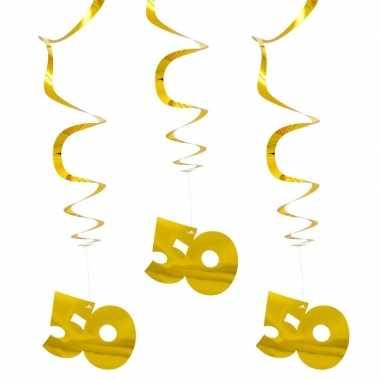 9x hangdecoratie goud 50 jaar