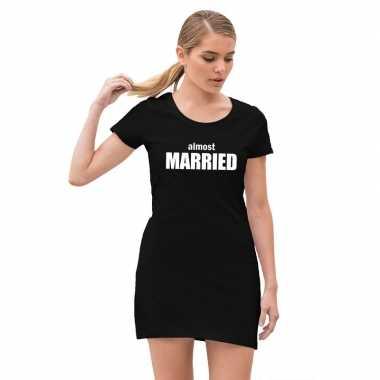 Almost married vrijgezellenfeest jurkje met zwart voor dames