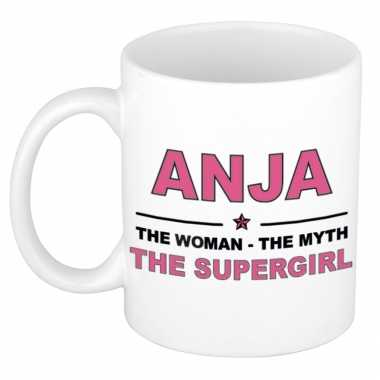 Anja the woman, the myth the supergirl cadeau koffie mok / thee beker 300 ml