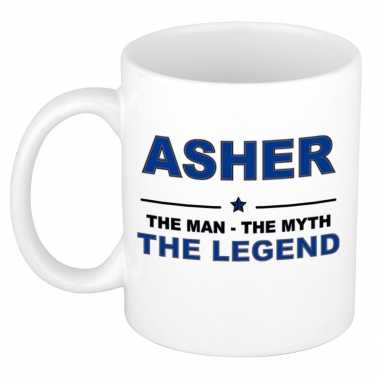 Asher the man, the myth the legend cadeau koffie mok / thee beker 300 ml