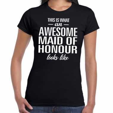 Awesome maid of honour/getuige cadeau t-shirt zwart dames