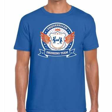Blauw vrijgezellenfeest drinking team t-shirt blauw oranje heren