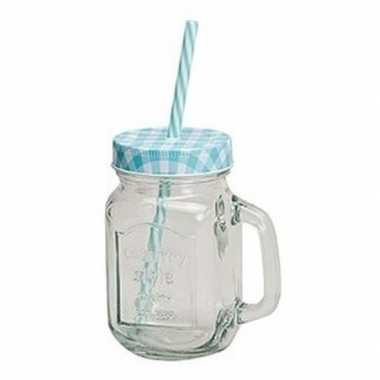 Blauw/witte glazen drinkpotje met rietje 450 ml