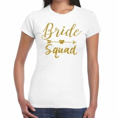 Bride squad cupido goud glitter t-shirt wit dames