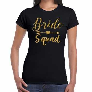 Bride squad cupido goud glitter t-shirt zwart dames