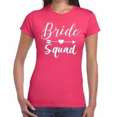 Bride squad cupido t-shirt roze dames