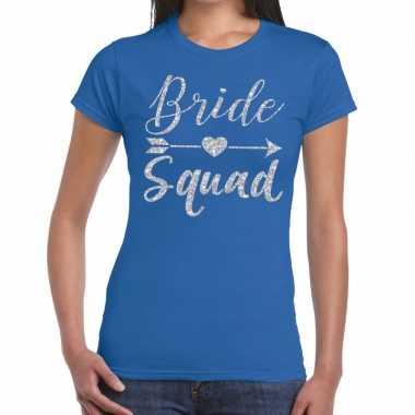 Bride squad cupido zilver glitter t-shirt blauw dames