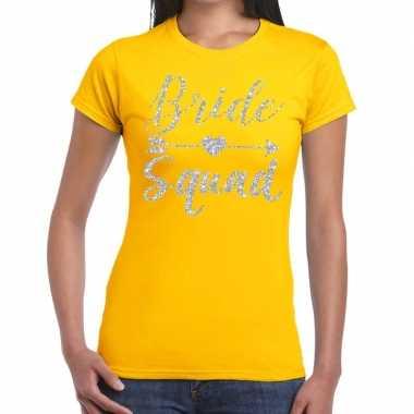 Bride squad cupido zilver glitter t-shirt geel dames