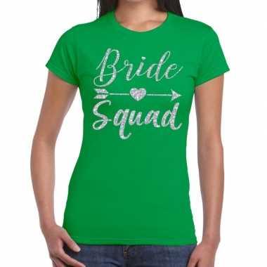 Bride squad cupido zilver glitter t-shirt groen dames