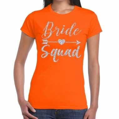 Bride squad cupido zilver glitter t-shirt oranje dames
