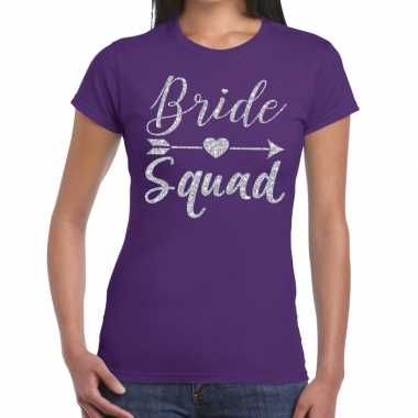 Bride squad cupido zilver glitter t-shirt paars dames
