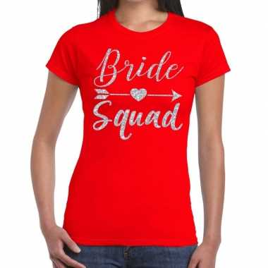 Bride squad cupido zilver glitter t-shirt rood dames