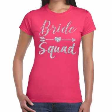 Bride squad cupido zilver glitter t-shirt roze dames