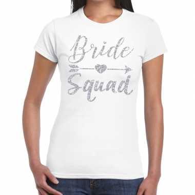 Bride squad cupido zilver glitter t-shirt wit dames